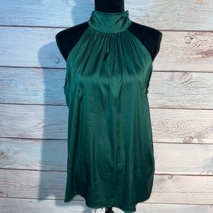 DO+BE dark green halter top. Open shoulders